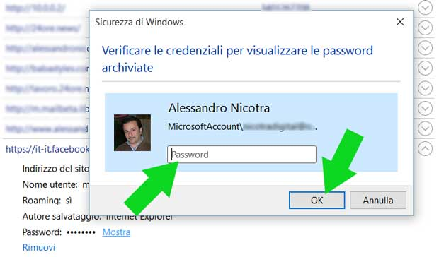 Inserisci la password di windows 10