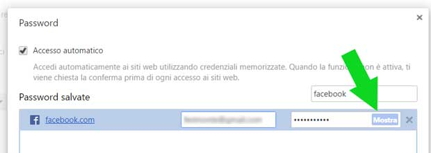 Mostra password di Google Chrome