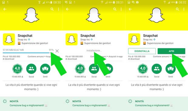 snapchat download play store apri