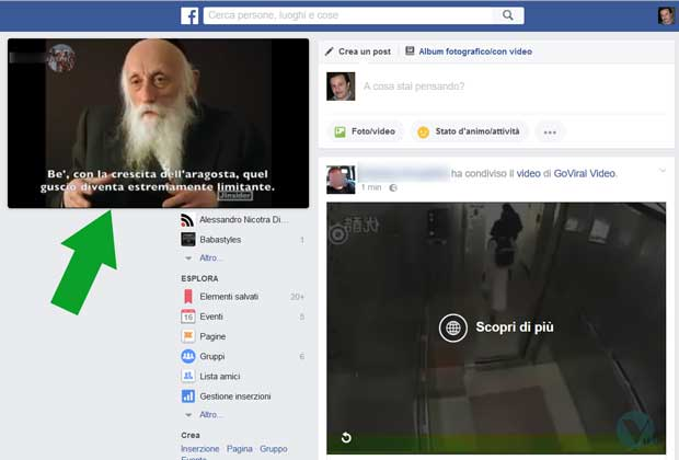 Facebook - video non ancorato al newsfeed