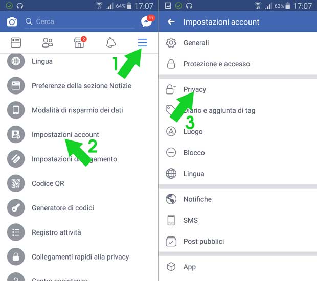 accedere a privacy facebook app android