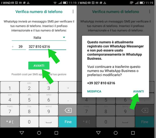 configurazione whatsapp business - no messenger contemporaneamente