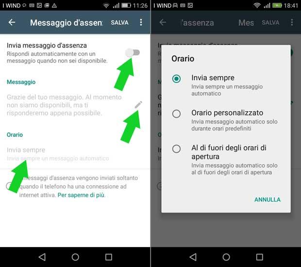 impostazione attività whatsapp business - messaggi d'assenza