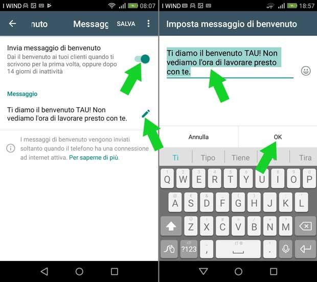 impostazione attività whatsapp business - messaggio di benvenuto