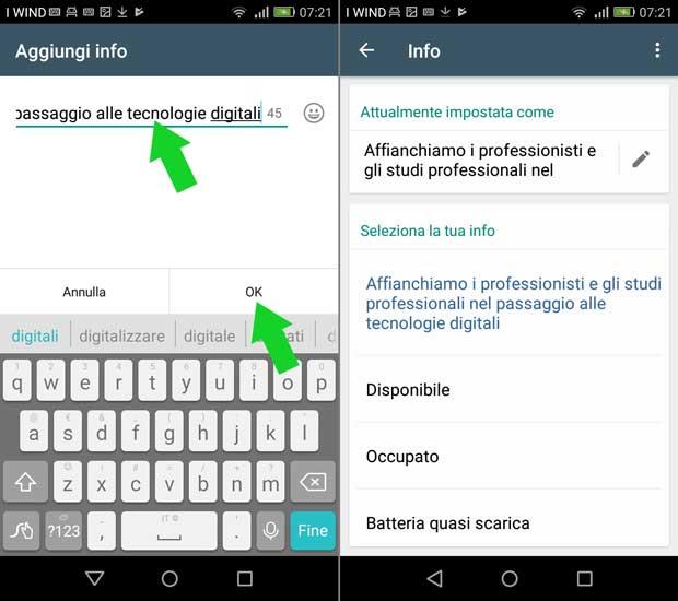 impostazione attività whatsapp business - modifica info