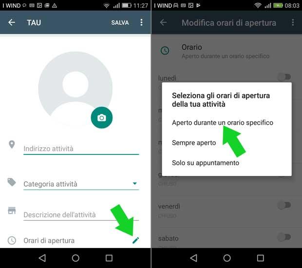 impostazione attività whatsapp business - modifica orari di apertura