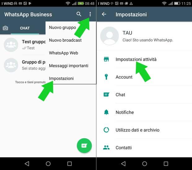 impostazione attività whatsapp business