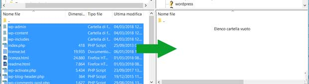 filezilla ftp trasferisci file