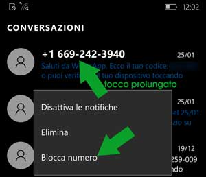 blocco SMS microsoft windows phone