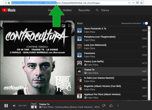 URL di YouTube Music
