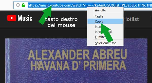 copiare la URL di YouTube Music