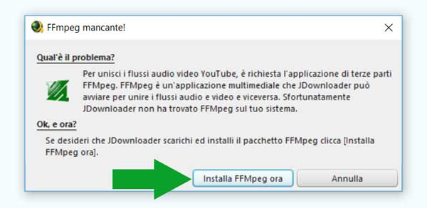 scaricare video da youtube jdownloader - ffmpeg mancante