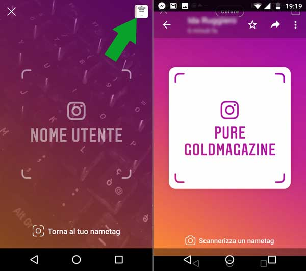 scannerizza un nametag instagram