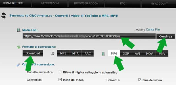scaricare video FB con clipconverter