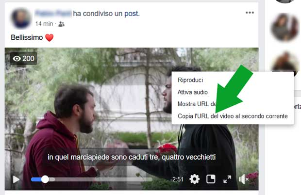 copiare la URL del video di Facebook