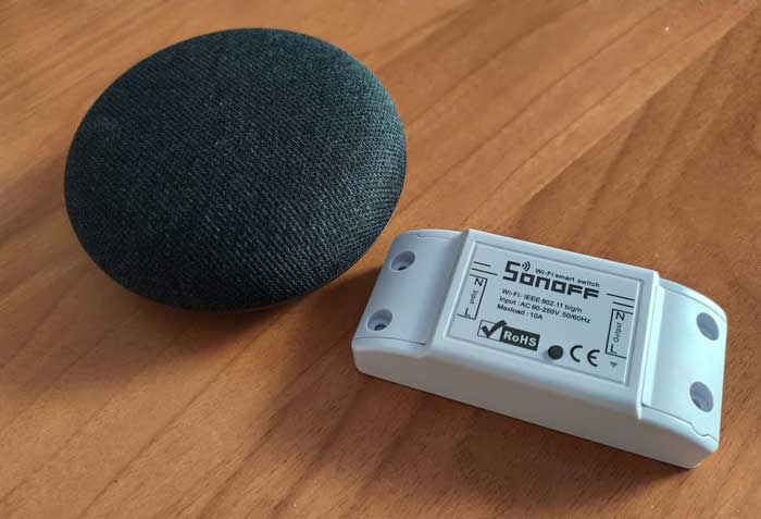 Interruttore Sonoff basic e Google Home Mini