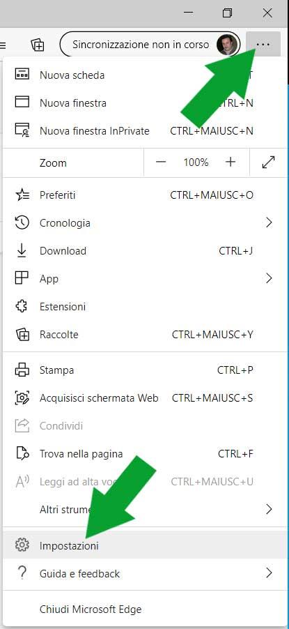 Accedere alle impostazione di Microsoft Edge