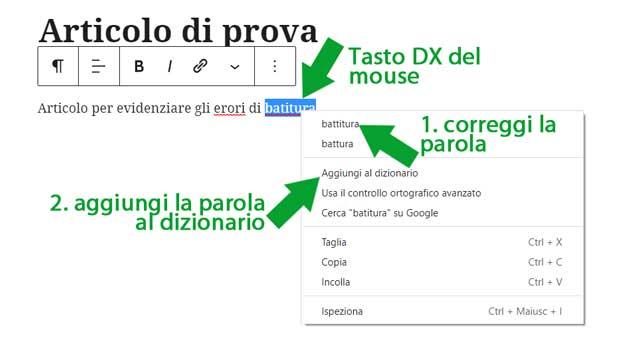 Usare il correttore automatico in Chrome