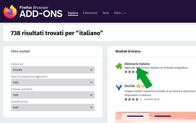 add-ons di Firefox - dizionario italiano