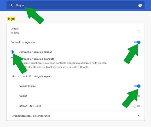 configurazione del correttore automatico in Google Chrome
