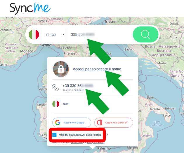 login page di Sync.me