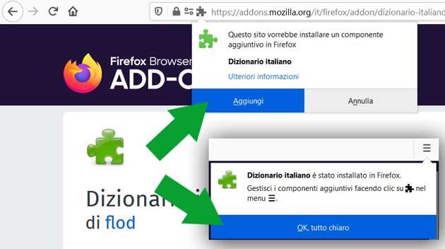 permessi add-ons di Firefox - aggiungi estensione