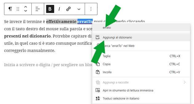usare il correttore automatico in Microsoft Edge