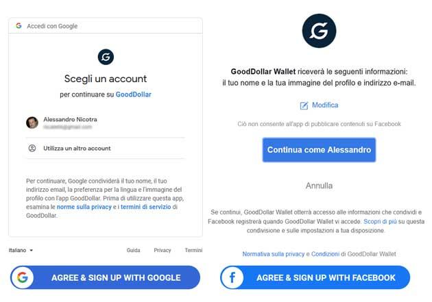 Accetta e registrati a GoodDollar con Google e Facebook