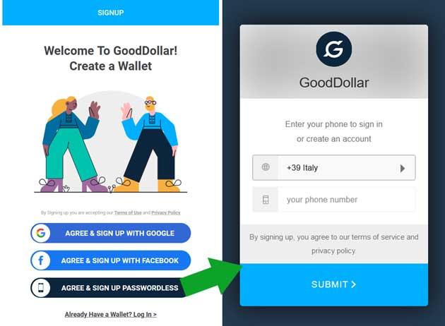 Accetta e registrati a GoodDollar con il telefono