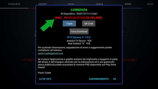 mac address IPTV Extreme - schermata about